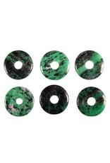 Robijn in zoisiet hanger donut 3 cm