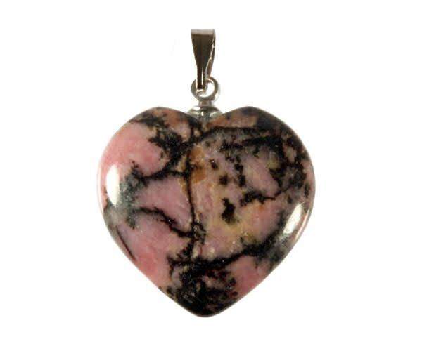 Rhodoniet (roze met zwart) hanger hart 20 mm