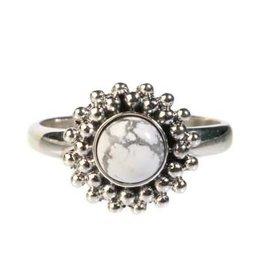 Zilveren ring howliet maat 17 1/4 | rond bolletjes