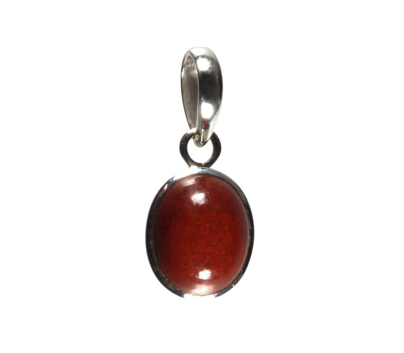 Zilveren hanger jaspis (rood) kleine ovaal 10 x 8 mm