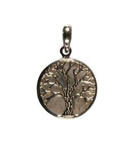 Zilveren hanger labradoriet levensboom
