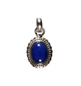 Zilveren hanger lapis lazuli ovaal bewerkte rand