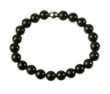Obsidiaan (zwart) armband 20 cm   8 mm kralen
