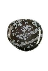 Obsidiaan (sneeuwvlok) steen plat gepolijst