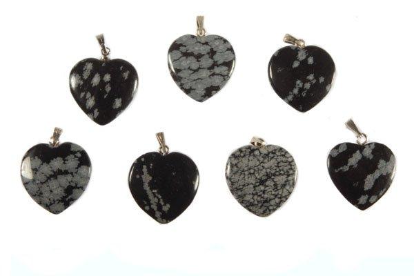 Obsidiaan (sneeuwvlok) hanger hart 20 mm