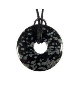Obsidiaan (sneeuwvlok) hanger donut 3 cm