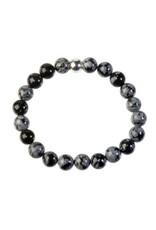 Obsidiaan (sneeuwvlok) armband 18 cm   8 mm kralen