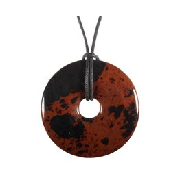 Obsidiaan (mahonie) hanger donut 4 cm
