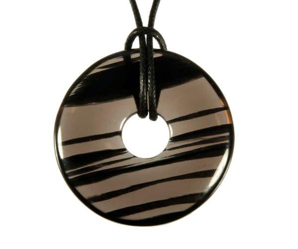 Obsidiaan (lamellen) hanger donut 3 cm