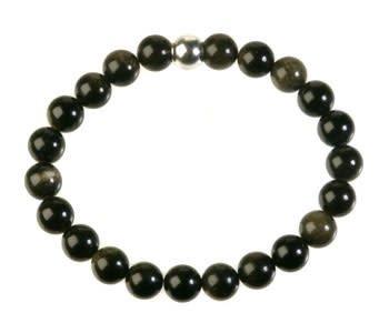 Obsidiaan (goud) armband 18 cm   8 mm kralen