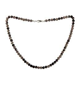 Obsidiaan (apachetranen) ketting 6 mm facet kralen