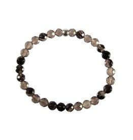 Obsidiaan (apachetranen) armband facet kralen 18 cm | 6 mm kralen