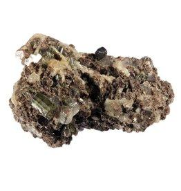 Muscoviet of moskoviet met albiet, groene toermalijn en kwarts ruw 8 x 5,2 x 4,3 cm / 163 gram
