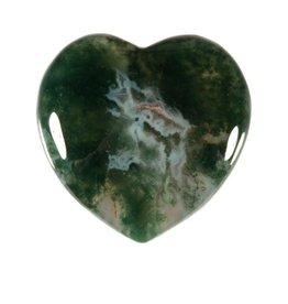 Mosagaat edelsteen hart 4 cm