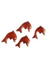 Jaspis (rood) hanger dolfijn doorboord