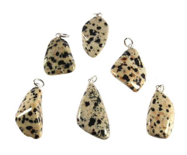 Jaspis (dalmatiër) hanger met zilveren oogje