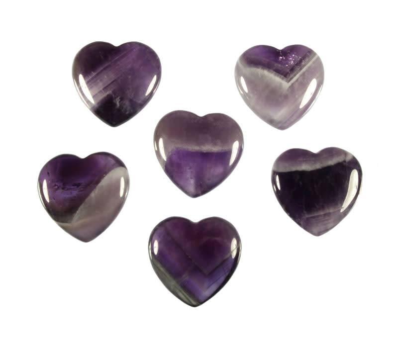 Amethistkwarts edelsteen hart 4 cm