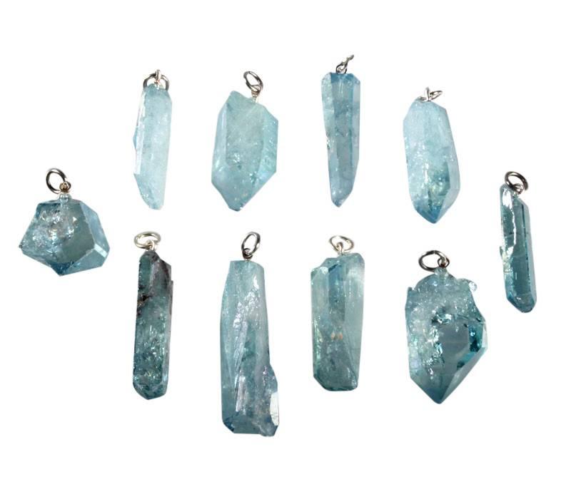 Aqua aura hanger kristal