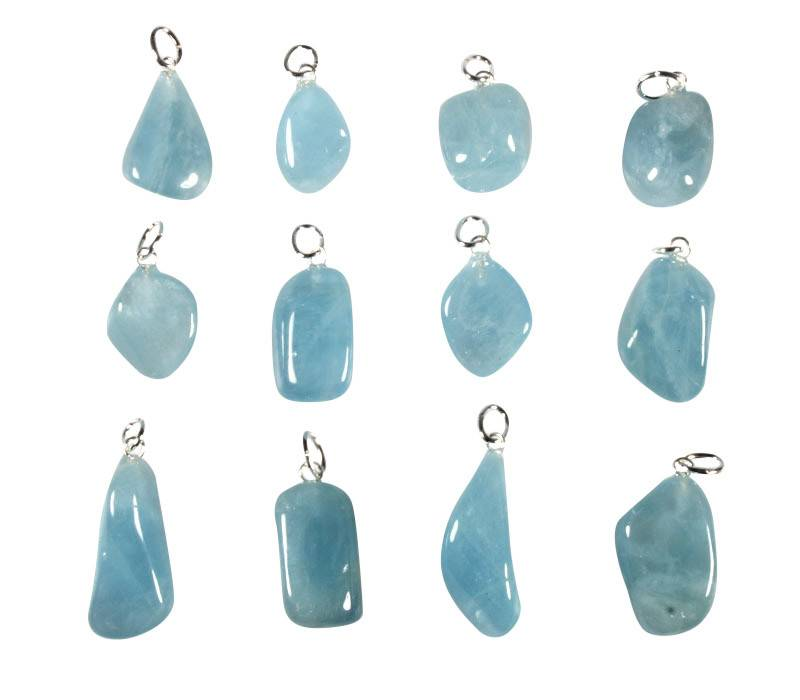 Aquamarijn (blauw) hanger met zilveren oogje