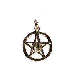 Zilveren hanger moldaviet pentagram (bescherming) 15 mm