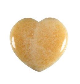 Calciet (oranje) edelsteen hart 4 cm