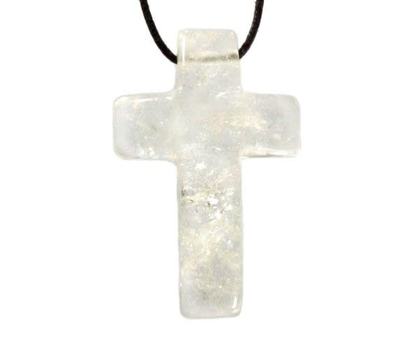 Bergkristal hanger kruis doorboord