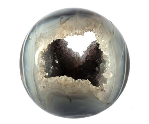 Bergkristal geode met agaat bol 150 mm