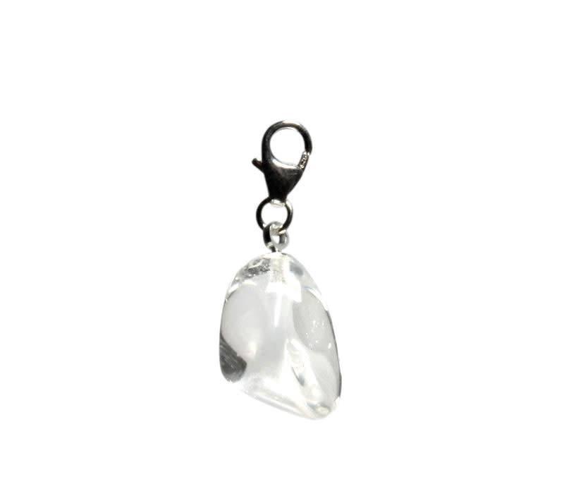 Bergkristal bedeltje met sterling zilveren slotje