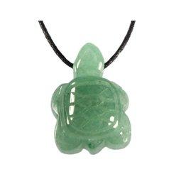 Aventurijn (groen) hanger schildpad doorboord