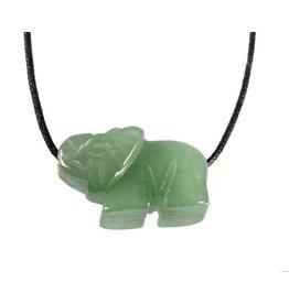 Aventurijn (groen) hanger olifant doorboord