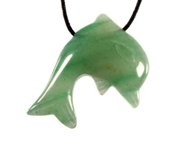 Aventurijn (groen) hanger dolfijn doorboord