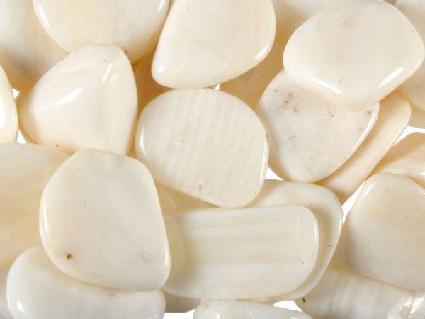 Aragoniet (wit) steen getrommeld 2 - 5 gram