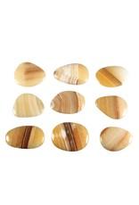 Aragoniet (bruin/geel) steen plat gepolijst