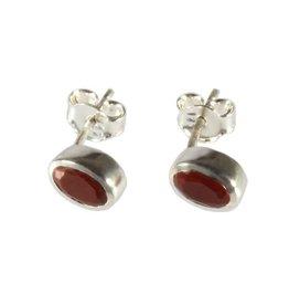 Zilveren oorstekers jaspis (rood) ovaal facet 7 x 5 mm
