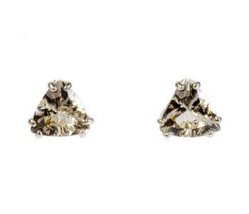 Zilveren oorstekers labradoriet (goud) driehoek facet 7 x 7 mm