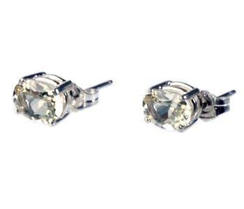 Zilveren oorstekers labradoriet (goud) ovaal 8 x 6 mm