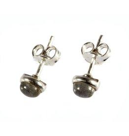 Zilveren oorstekers labradoriet rond 5 mm