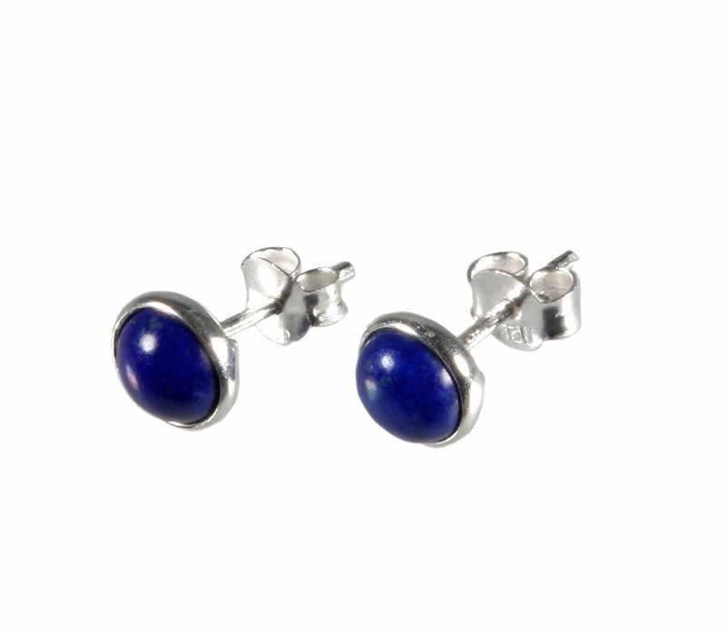 Zilveren oorstekers lapis lazuli rond 5 mm