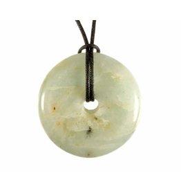 Aquamarijn hanger B-kwaliteit donut 3 - 4 cm
