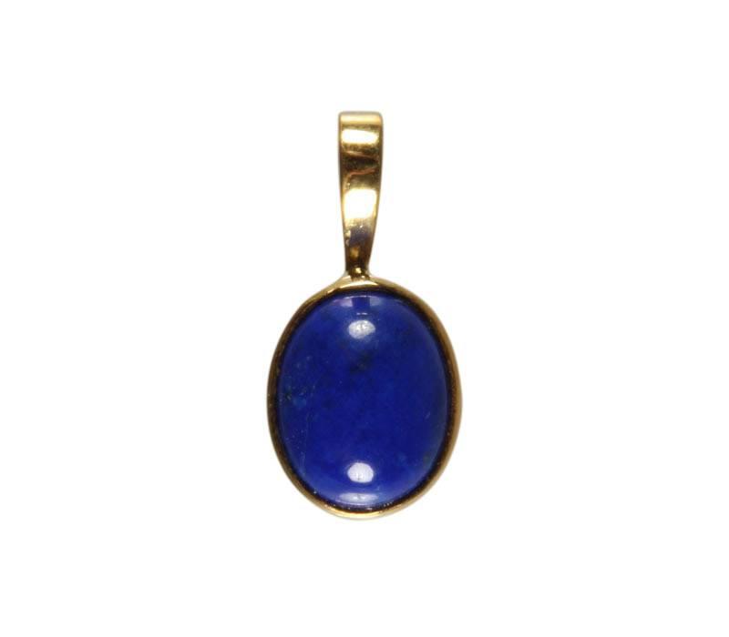 Gouden (14k) hanger lapis lazuli ovaal 10 x 8 mm