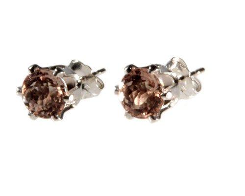 Zilveren oorstekers morganiet gefacetteerd 6 mm