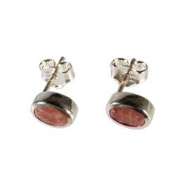 Zilveren oorstekers rhodochrosiet ovaal facet 7 x 5 mm
