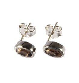 Zilveren oorstekers rookkwarts ovaal facet 7 x 5 mm