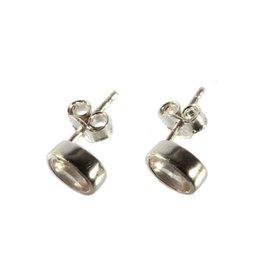 Zilveren oorstekers rozenkwarts ovaal facet 7 x 5 mm