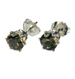 Zilveren oorstekers toermalijn (bruin) of draviet gefacetteerd 5 mm