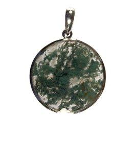 Zilveren hanger mosagaat rond facet 2,8 cm