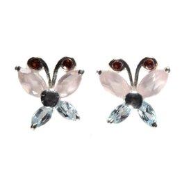 Zilveren oorstekers vlinder rozenkwarts, granaat en topaas