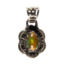 Zilveren hanger opaal (edel) druppel 1 x 0,8 cm
