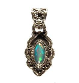 Zilveren hanger opaal (edel) markies krulrand