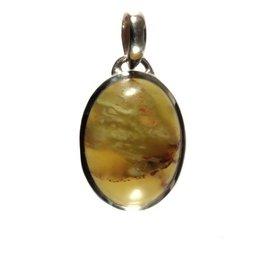 Zilveren hanger opaal (kiwi) ovaal 2 x 1,6 cm